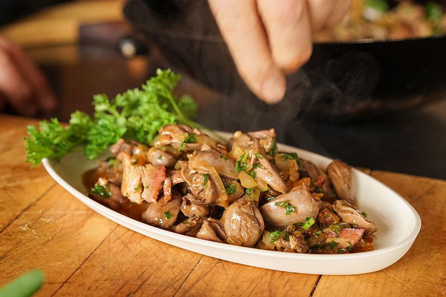 Coeurs de poulet au bacon et raisins