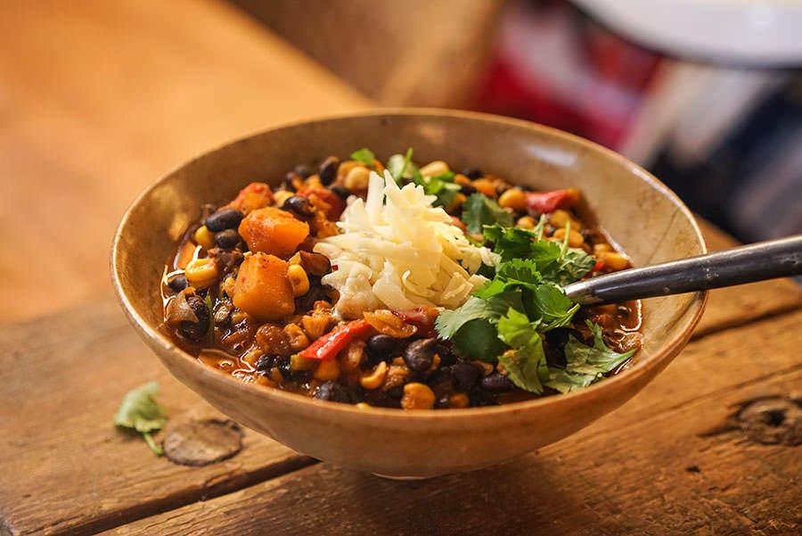 Chili végétarien courge, maïs et haricots