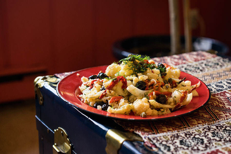 Salade de chou-fleur et poivron grillé