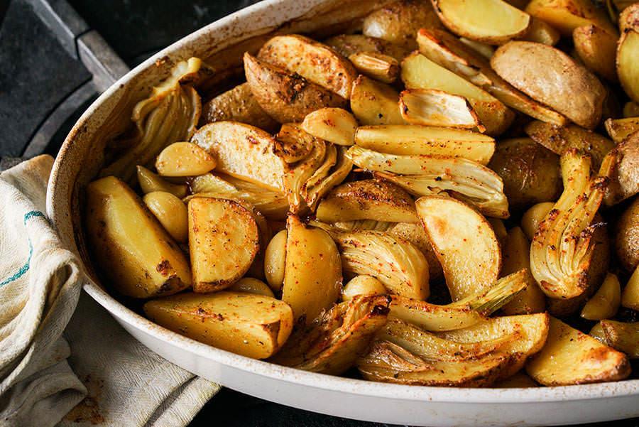 Fenouil et pommes de terre rôtis au piment Gorria