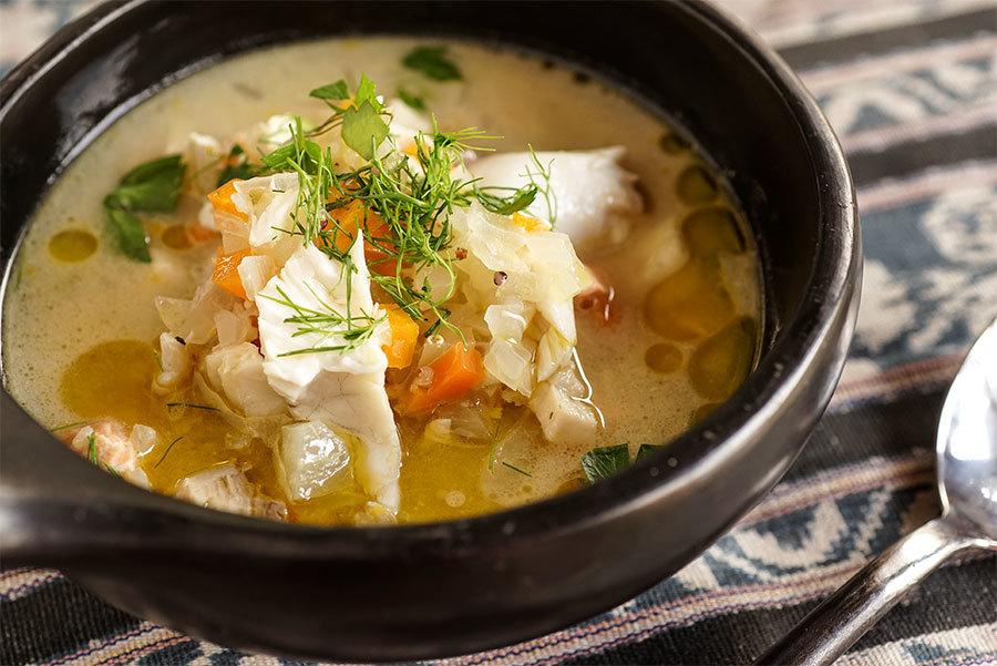 Soupe de poisson au tahini