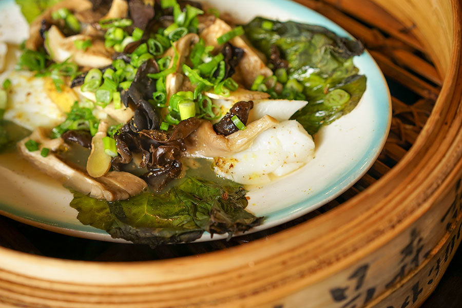 Filet de poisson vapeur aux champignons