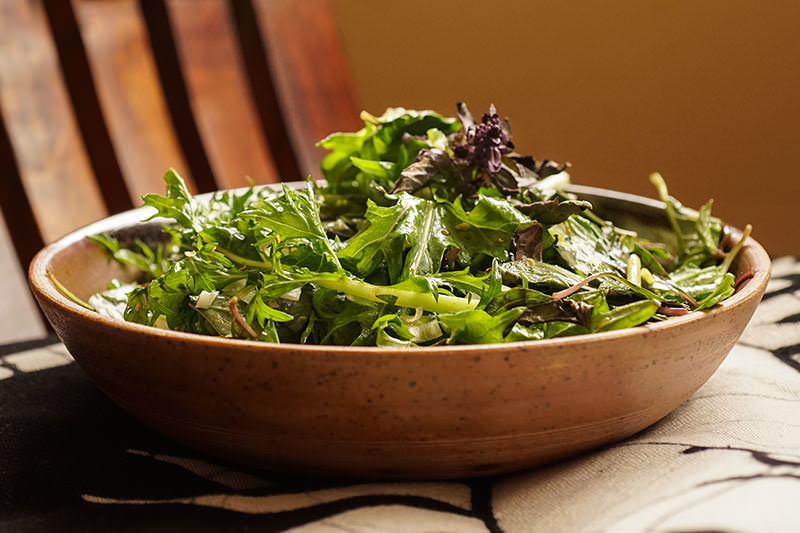 Salade de mizuna au poivre sansho
