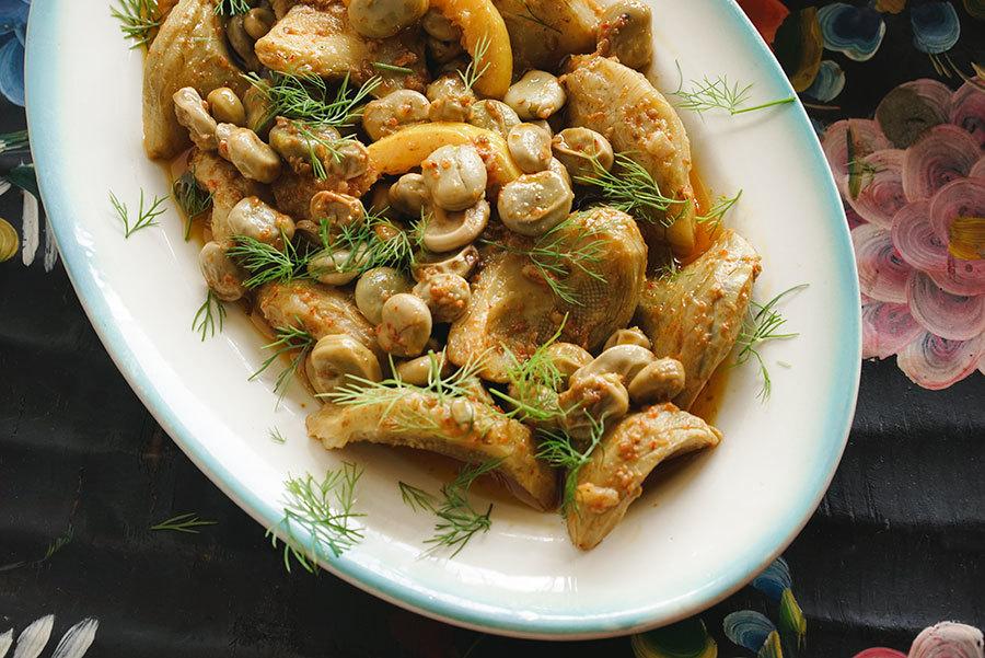 Coeurs d'artichauts et gourganes confits à l'huile d'olive