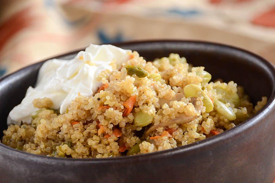 Pilaf de quinoa aux fèves de Lima