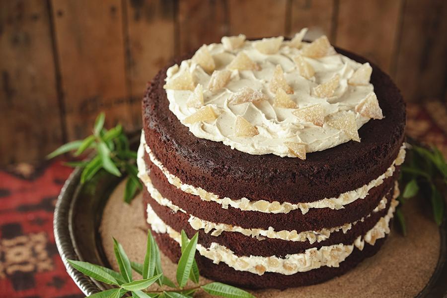 Gâteau au chocolat et glaçage au gingembre