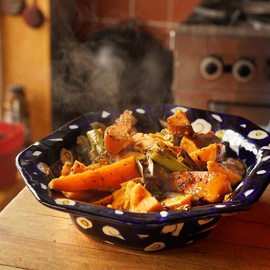 Patates douces et poireaux étuvés au gras de canard