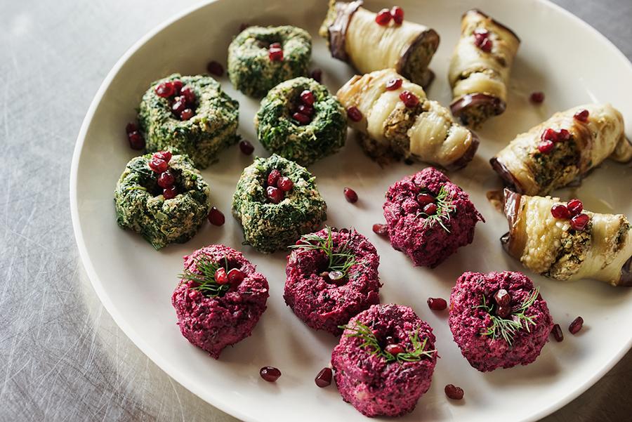 Trios de pkhalis – terrines de légumes et noix