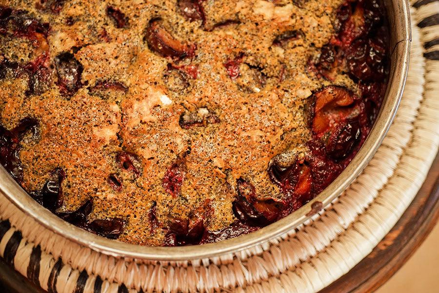 Gâteau au prunes, pavot et citron