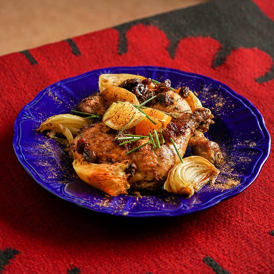 Poulet rôti aux agrumes et aux épices turques