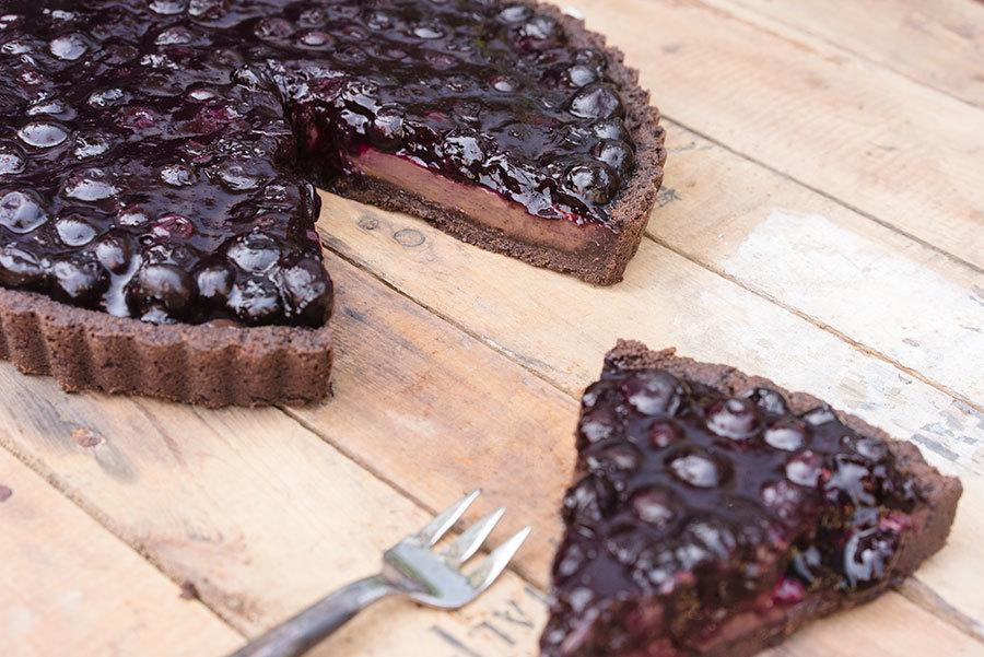 Tarte bleuets chocolat noir sarrasin