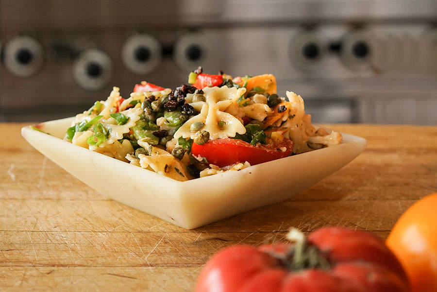 salade de p tes aux l gumes vinaigrette au parmesan recette pices de cru. Black Bedroom Furniture Sets. Home Design Ideas